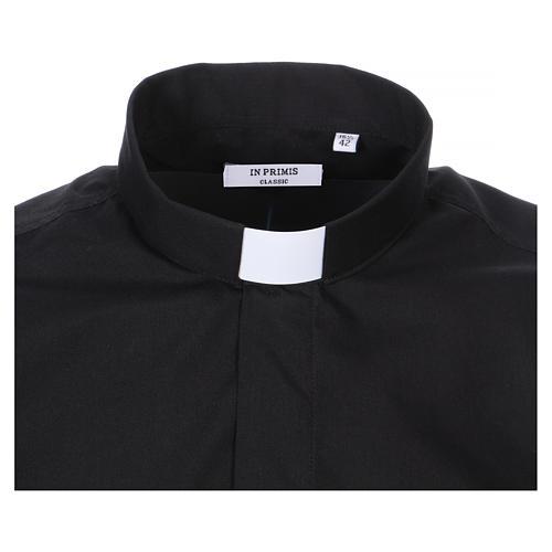 Camisa Colarinho Clergy manga curta misto algodão preto 2