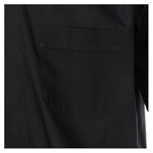 Camisa Colarinho Clergy manga curta misto algodão preto 3