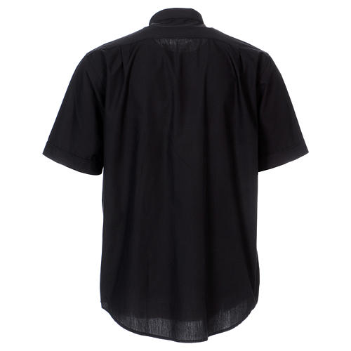 Camisa Colarinho Clergy manga curta misto algodão preto 5