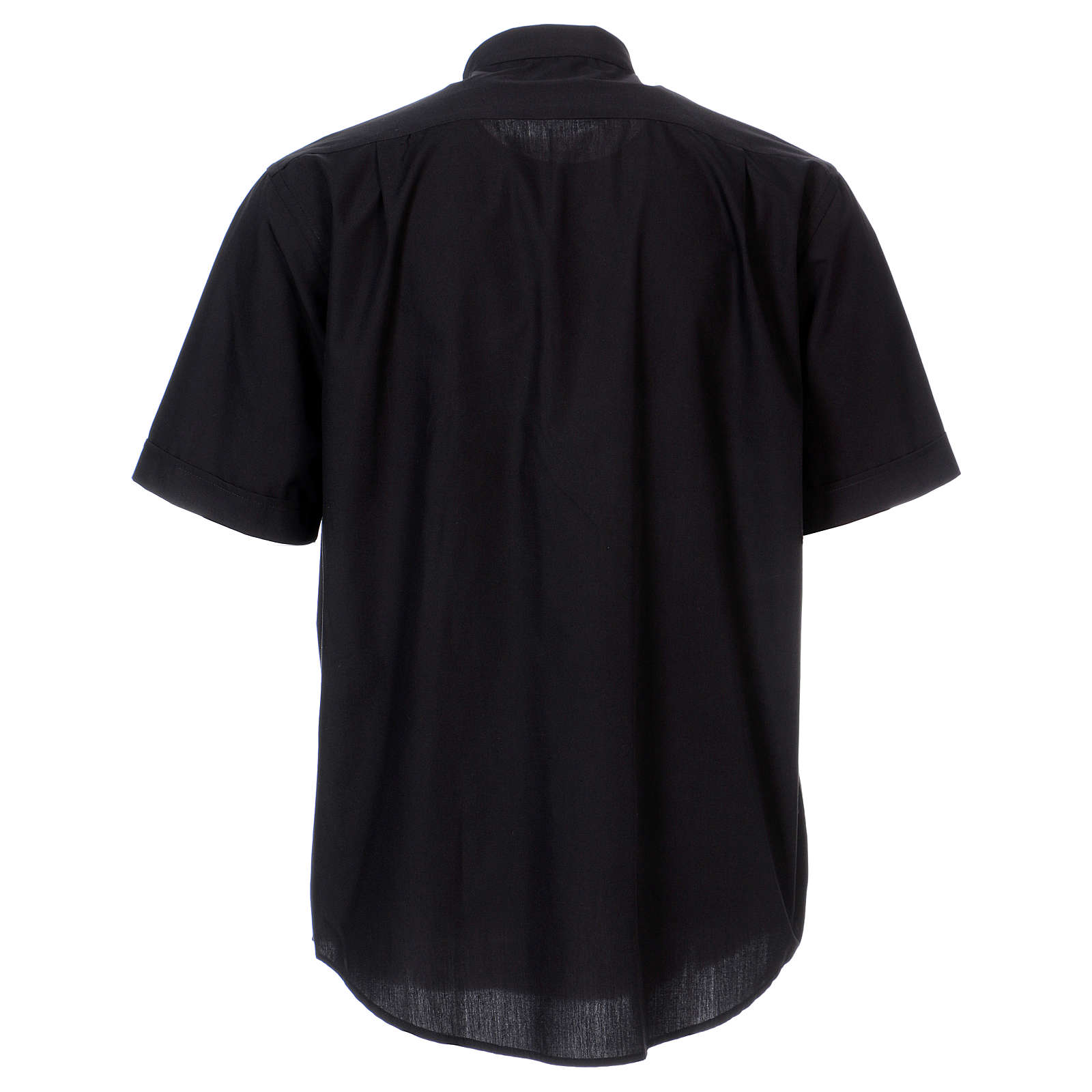 Short Sleeve Black Clergy Shirt, mixed cotton In Primis 4