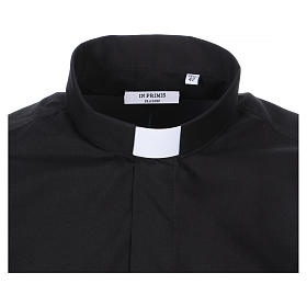 Short Sleeve Black Clergy Shirt, mixed cotton In Primis s2