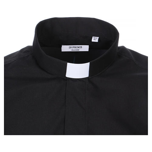 Short Sleeve Black Clergy Shirt, mixed cotton In Primis 2