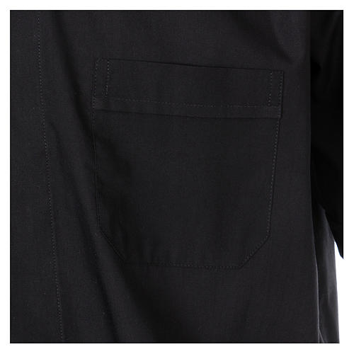 Short Sleeve Black Clergy Shirt, mixed cotton In Primis 3