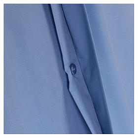 Short-sleeved clergy shirt in sky blue cotton blend In Primis s4