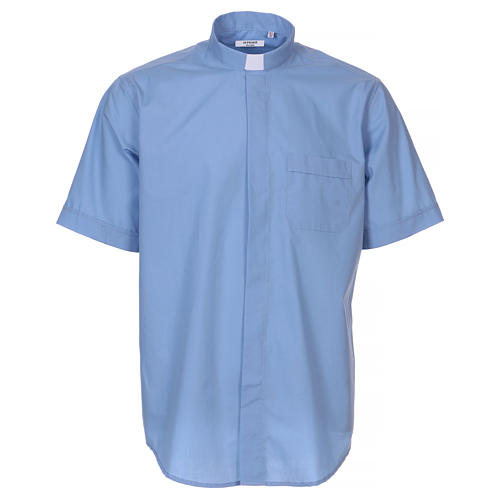 Short-sleeved clergy shirt in sky blue cotton blend In Primis 1