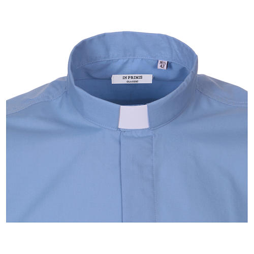 Short-sleeved clergy shirt in sky blue cotton blend In Primis 2
