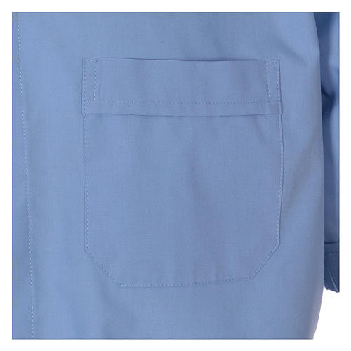Short-sleeved clergy shirt in sky blue cotton blend In Primis 3