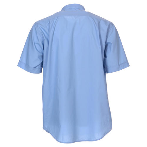 Short-sleeved clergy shirt in sky blue cotton blend In Primis 5
