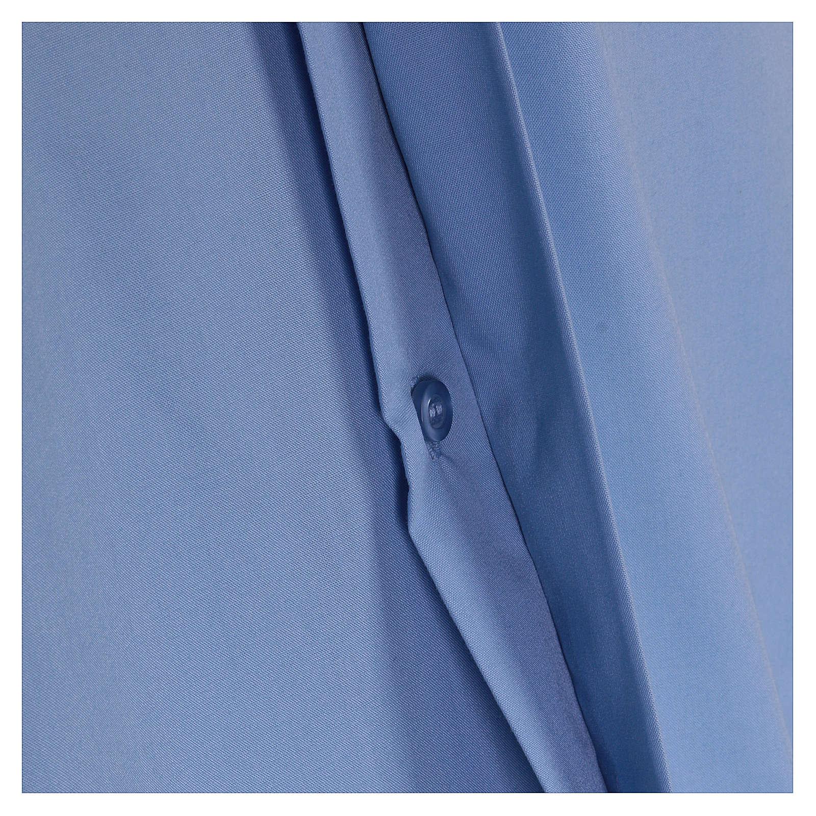 Camisa clergyman manga corta mixto algodón celeste 4