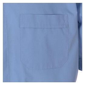 Camisa clergyman manga corta mixto algodón celeste s3