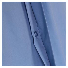 Camisa clergyman manga corta mixto algodón celeste s4