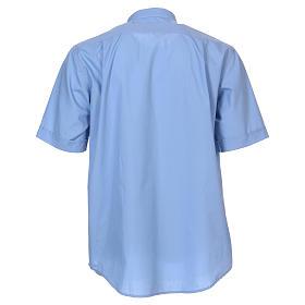 Camisa clergyman manga corta mixto algodón celeste s5