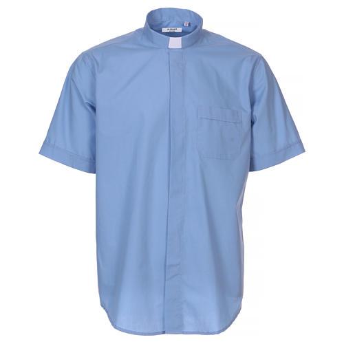 Camisa clergyman manga corta mixto algodón celeste 1