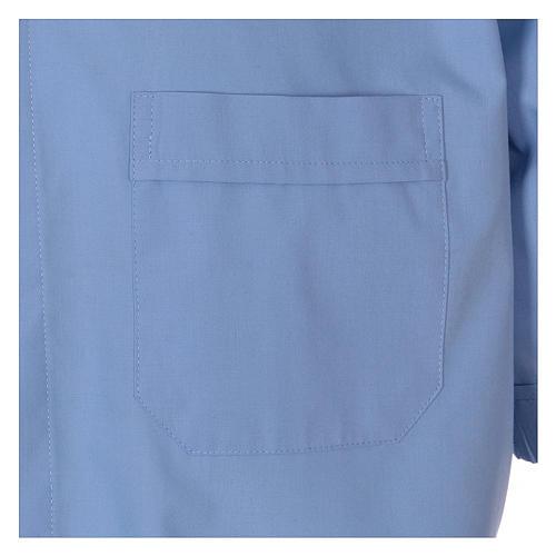 Camisa clergyman manga corta mixto algodón celeste 3