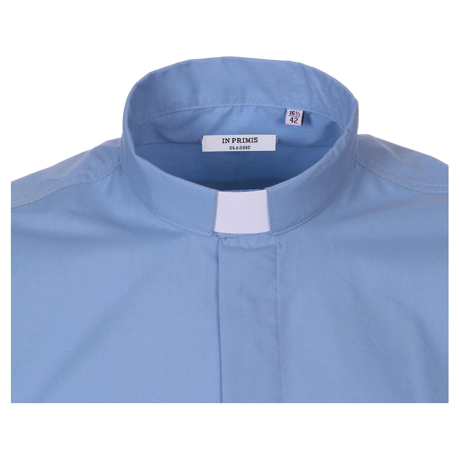 Chemise Clergyman manches courtes mixte coton bleu clair In Primis 4