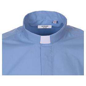 Camicia clergyman manica corta misto cotone celeste In Primis s2