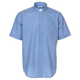 Camisas de Sacerdote: Camisa de sacerdote manga curta misto algodão azul claro