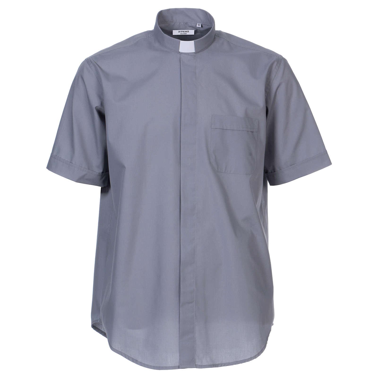 Camisa clergyman manga corta mixto algodón gris claro 4