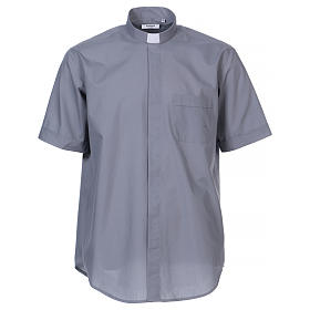 Camisa clergyman manga corta mixto algodón gris claro s1