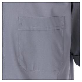 Chemise Clergyman manches courtes mixte coton gris clair s3