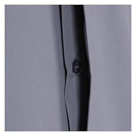 Chemise Clergyman manches courtes mixte coton gris clair s4