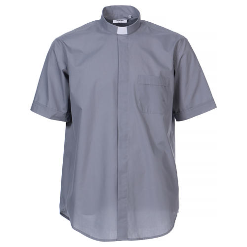 Chemise Clergyman manches courtes mixte coton gris clair 1