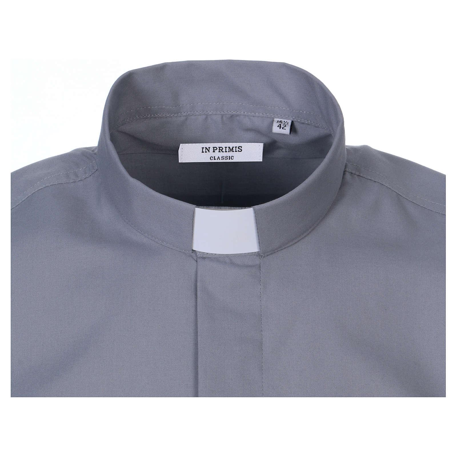 Camicia clergyman manica corta misto cotone grigio chiaro In Primis 4