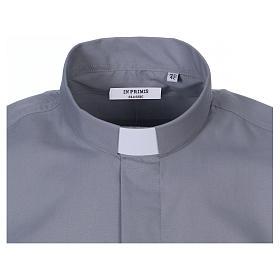 Camicia clergyman manica corta misto cotone grigio chiaro s2