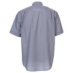 Camicia clergyman manica corta misto cotone grigio chiaro s5