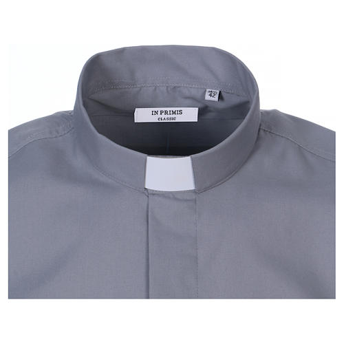 Koszula kapłańska krótki rękaw jasny szary mieszana bawełna 2
