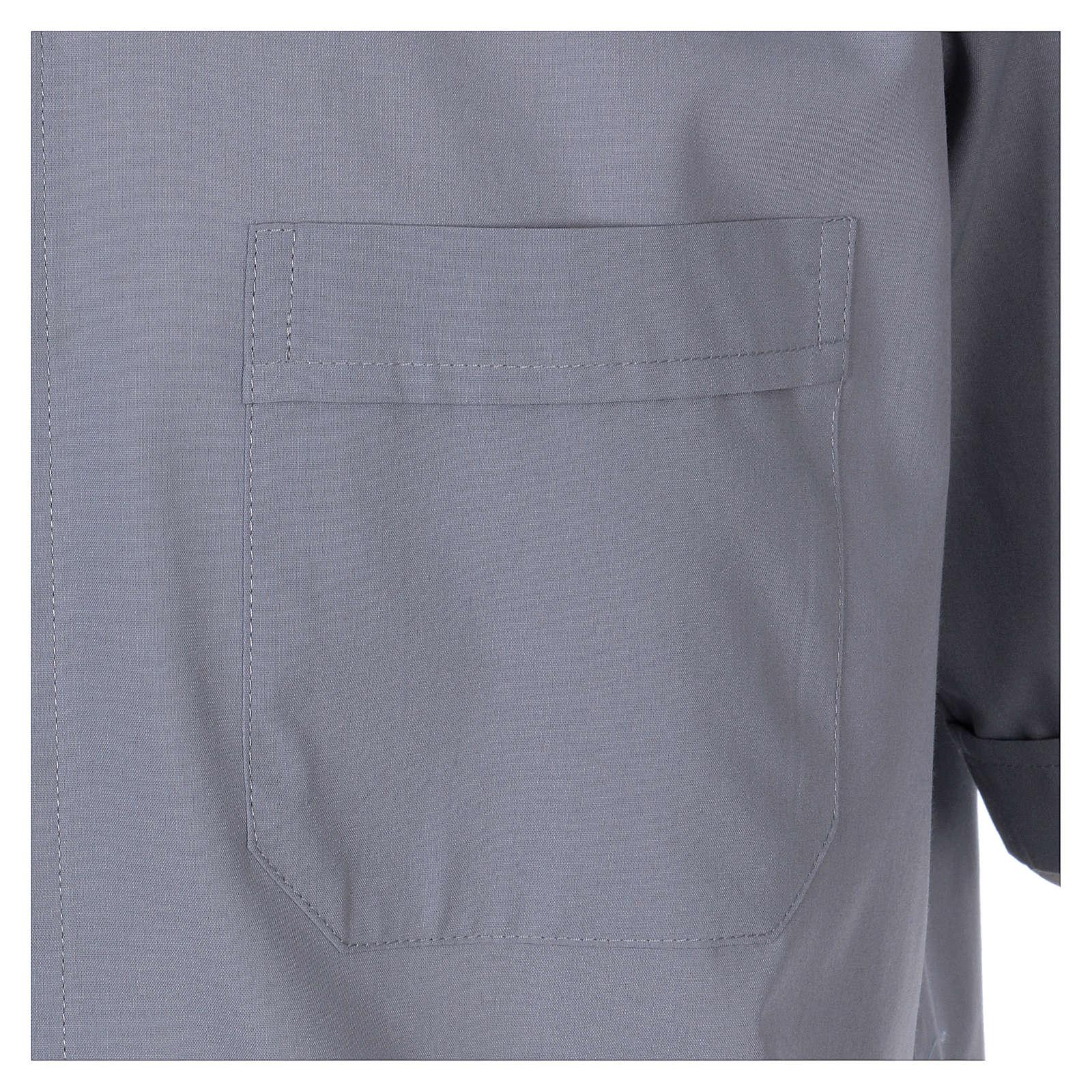 Camisa Clergyman manga curta misto algodão cinzento claro In Primis 4