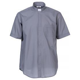 Camisas de Sacerdote: Camisa Clergyman manga curta misto algodão cinzento claro