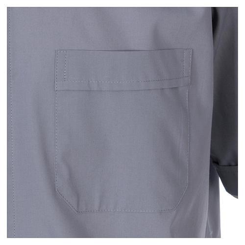 Camisa Clergyman manga curta misto algodão cinzento claro In Primis 3