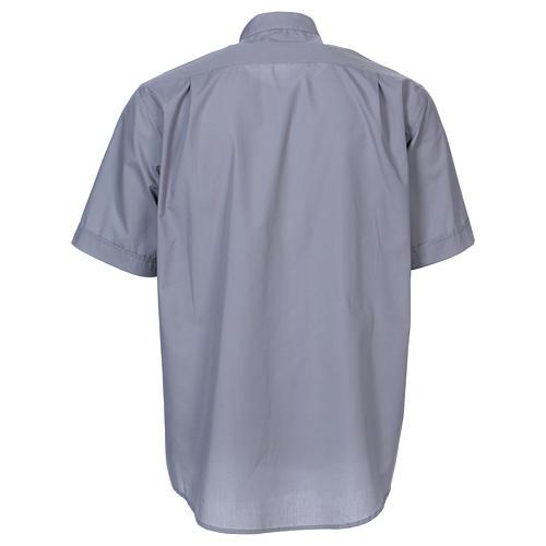 Camisa Clergyman manga curta misto algodão cinzento claro In Primis 5