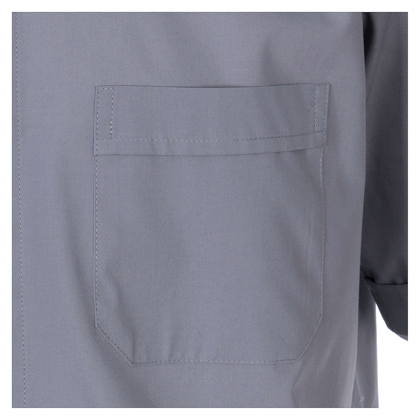 Short Sleeve Clergy Shirt in Light Gray, mixed cotton In Primis 4