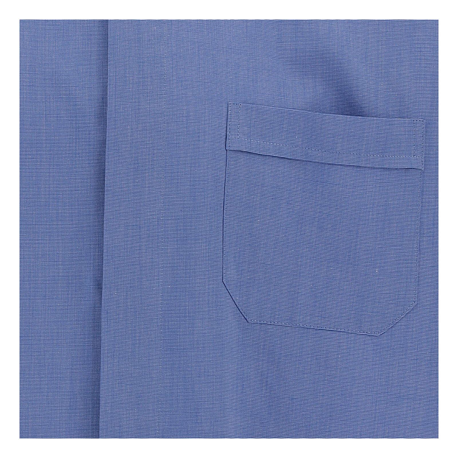 Chemise col clergy fil à fil bleue manches courtes 4