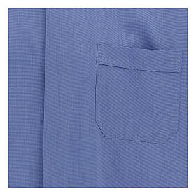 Chemise col clergy fil à fil bleue manches courtes s2