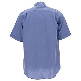 Chemise col clergy fil à fil bleue manches courtes s4
