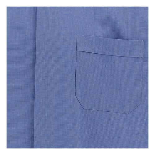 Chemise col clergy fil à fil bleue manches courtes 2