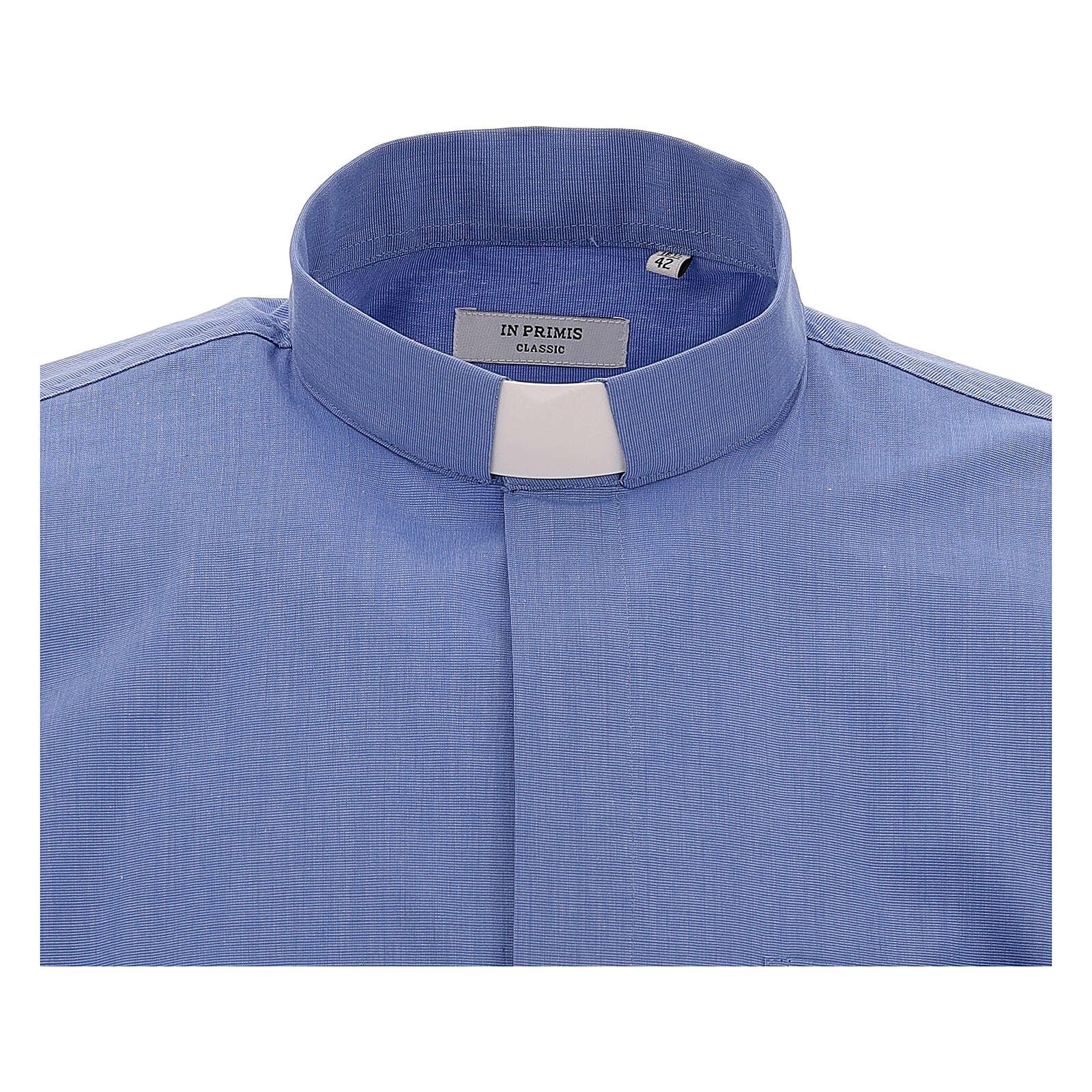 Camicia collo clergy fil a fil blu manica corta 4