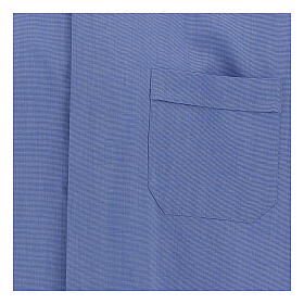 Camicia collo clergy fil a fil blu manica corta s2
