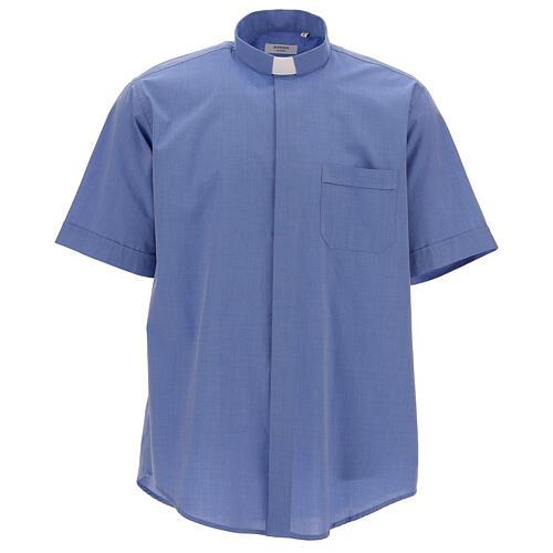 Camicia collo clergy fil a fil blu manica corta 1
