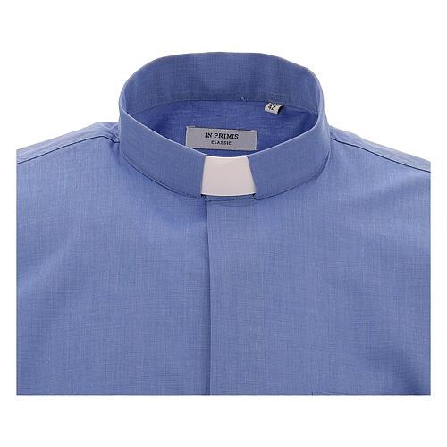 Camicia collo clergy fil a fil blu manica corta 3