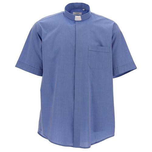 Koszula kapłańska fil a fil niebieska krótki rękaw 1
