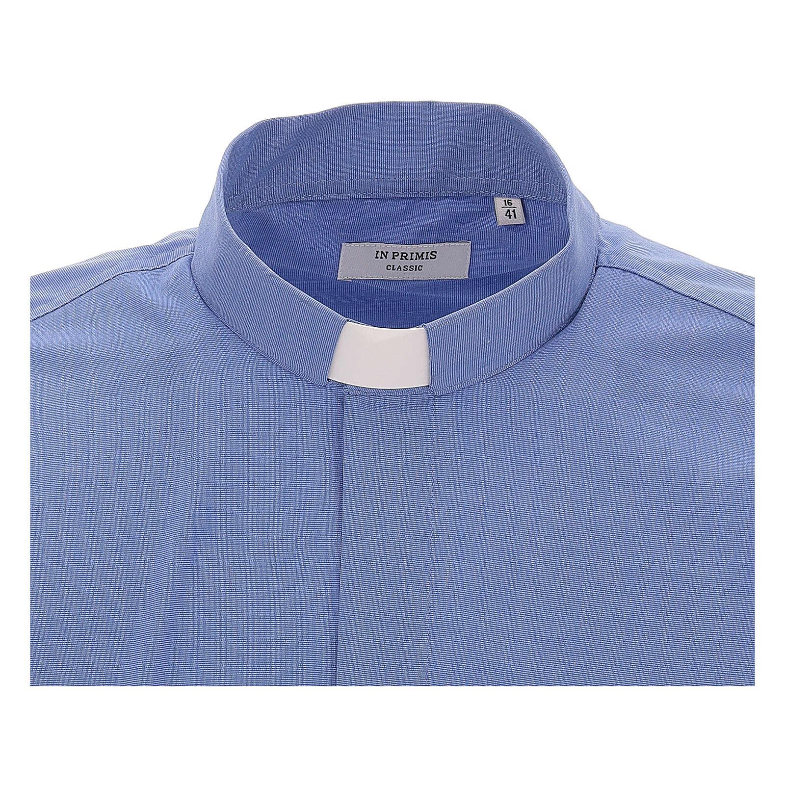Camicia clergyman fil a fil blu m. lunga 4