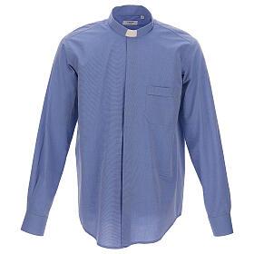 Camicia clergyman fil a fil blu m. lunga s1