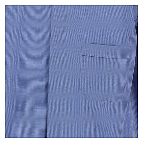 Camicia clergyman fil a fil blu m. lunga s2