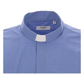 Camicia clergyman fil a fil blu m. lunga s3