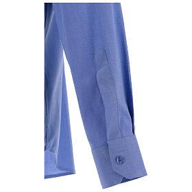 Camicia clergyman fil a fil blu m. lunga s4