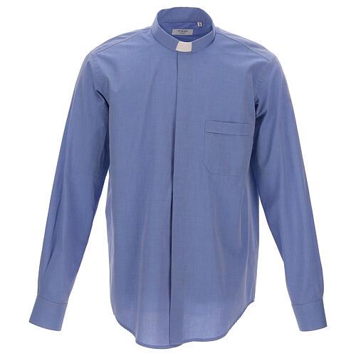 Camicia clergyman fil a fil blu m. lunga 1